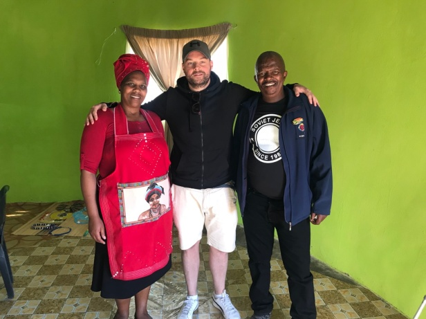 Tadhg Peavoy with Madiba clan members Noxolo and Zim