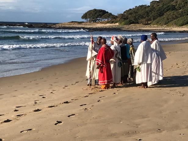 Tribal ceremony on Coffee Bay beach